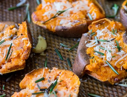 Garlic-Parmesan Smashed Sweet Potato Rounds