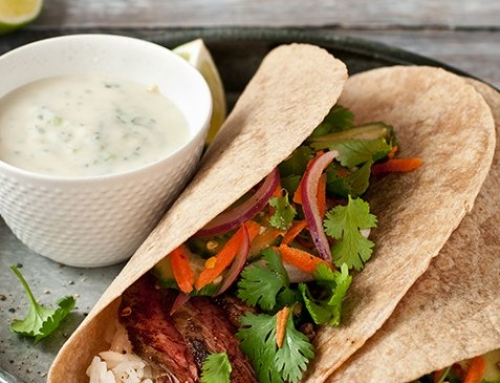 Sirloin Wrap with Pickled Vegetables and Minted Yogurt Sauce